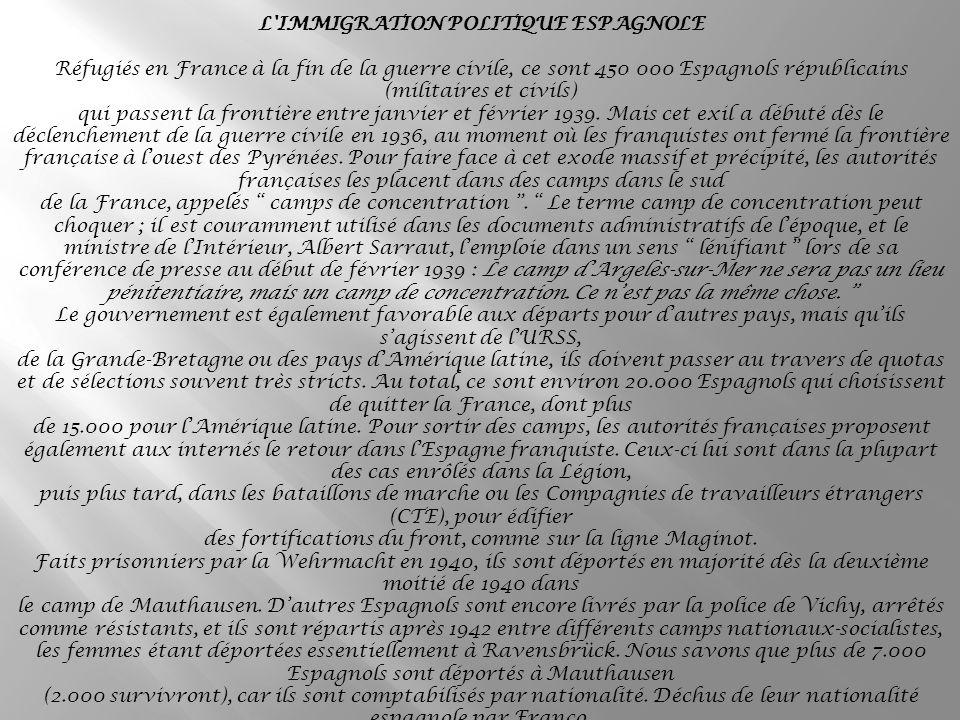 L IMMIGRATION POLITIQUE ESPAGNOLE