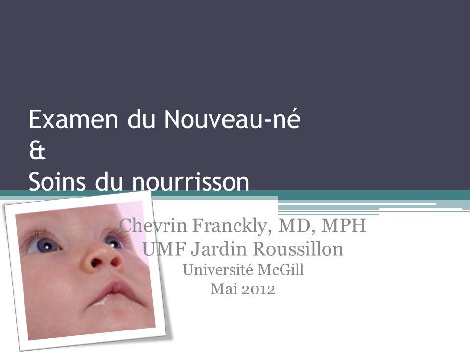 Examen du Nouveau-né & Soins du nourrisson