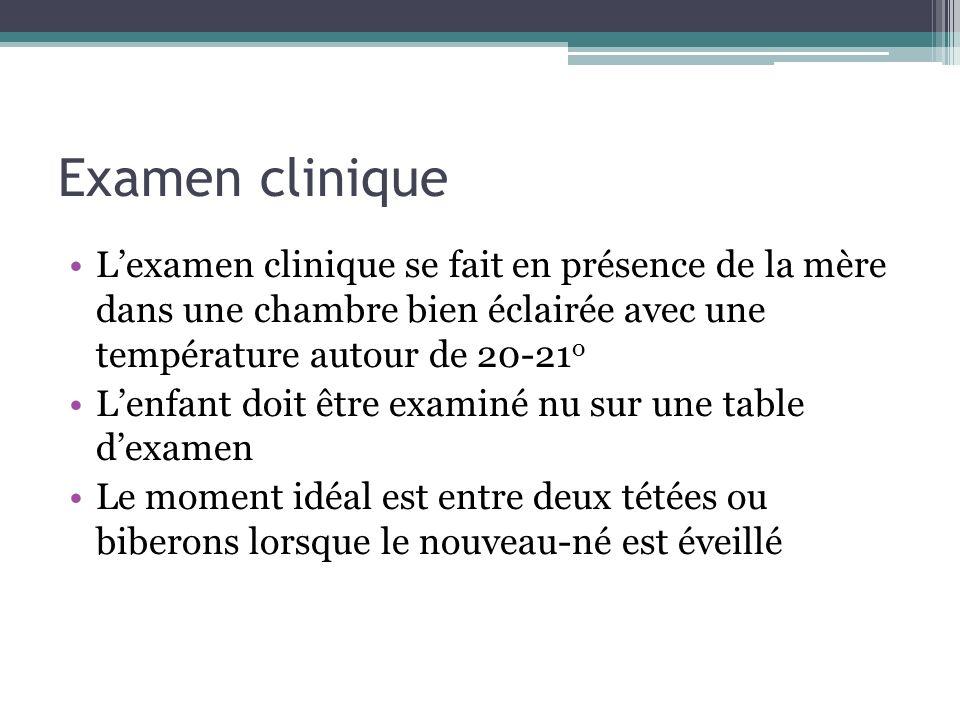 Examen cliniqueL'examen clinique se fait en présence de la mère dans une chambre bien éclairée avec une température autour de 20-21o.