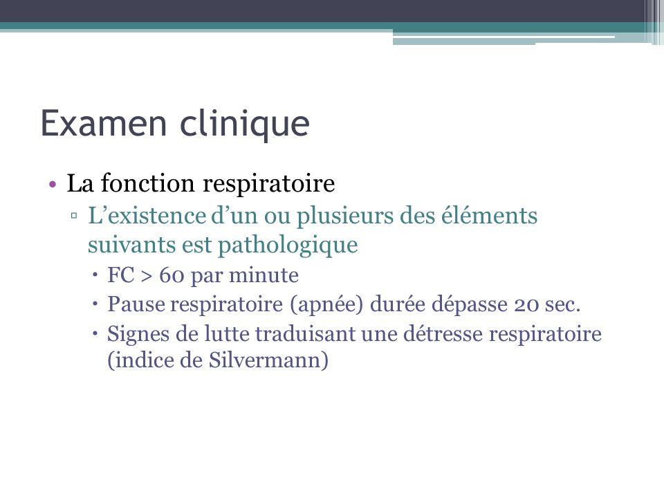 Examen clinique La fonction respiratoire