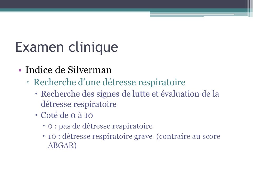 Examen clinique Indice de Silverman