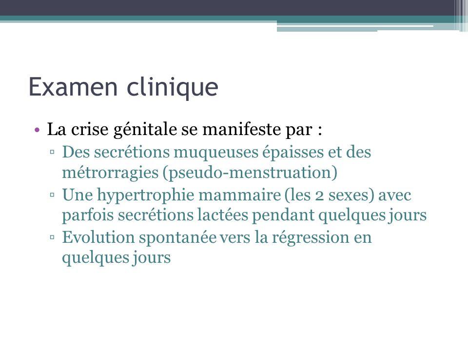 Examen clinique La crise génitale se manifeste par :
