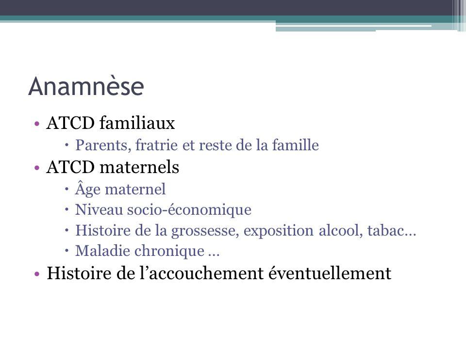 Anamnèse ATCD familiaux ATCD maternels