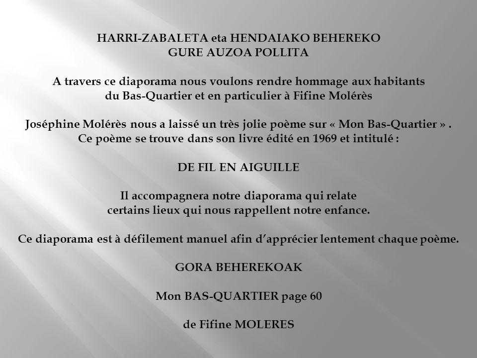 HARRI-ZABALETA eta HENDAIAKO BEHEREKO GURE AUZOA POLLITA