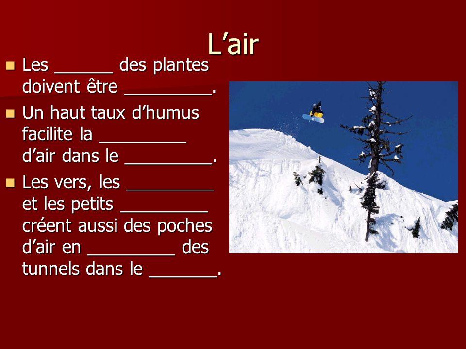 L'air Les ______ des plantes doivent être _________.