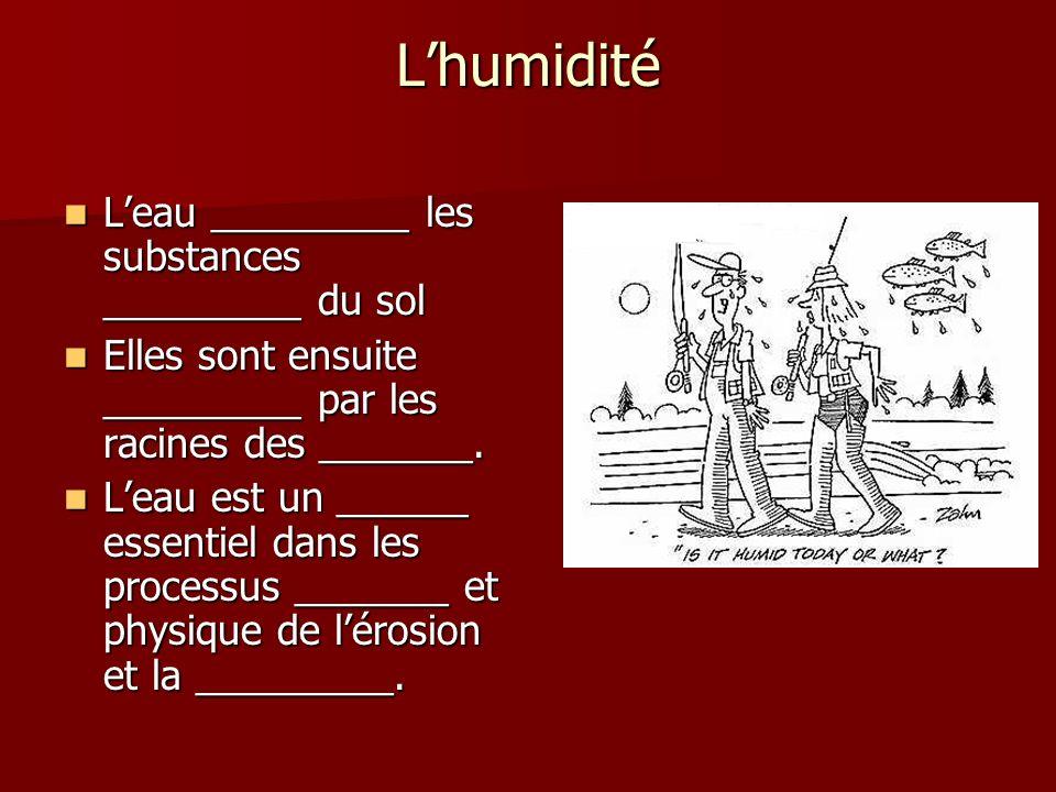 L'humidité L'eau _________ les substances _________ du sol