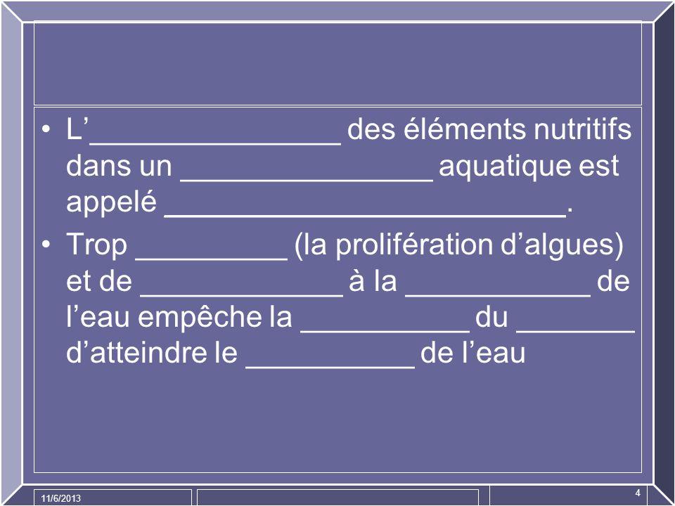 L'_______________ des éléments nutritifs dans un _______________ aquatique est appelé ________________________.
