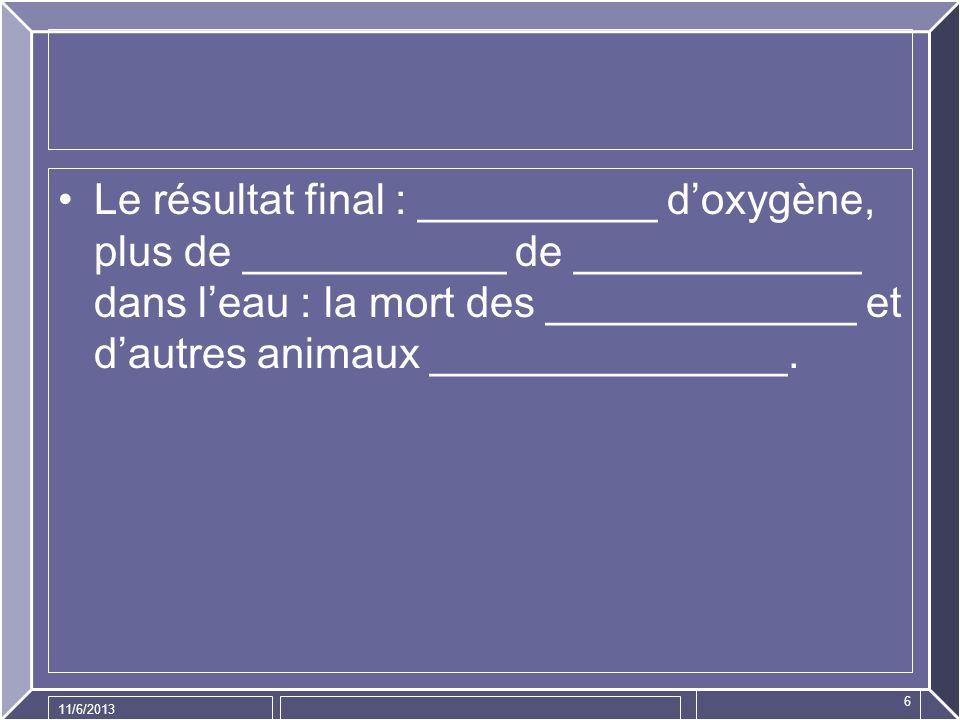 Le résultat final : __________ d'oxygène, plus de ___________ de ____________ dans l'eau : la mort des _____________ et d'autres animaux _______________.