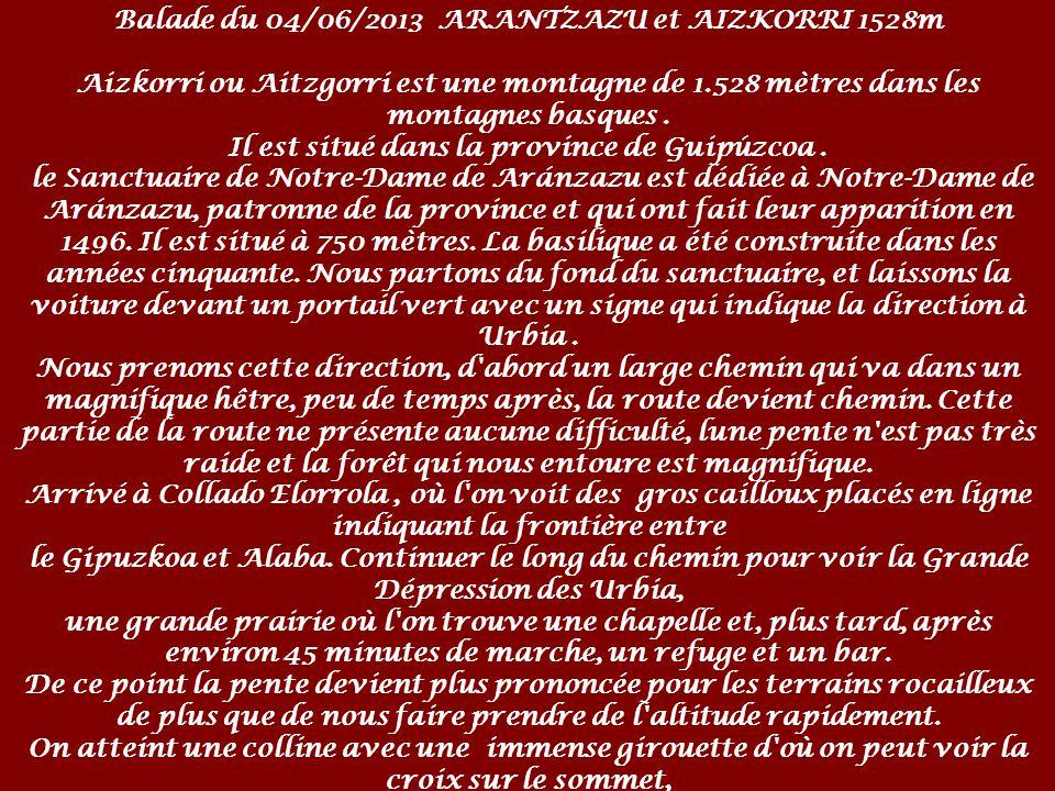 Balade du 04/06/2013 ARANTZAZU et AIZKORRI 1528m