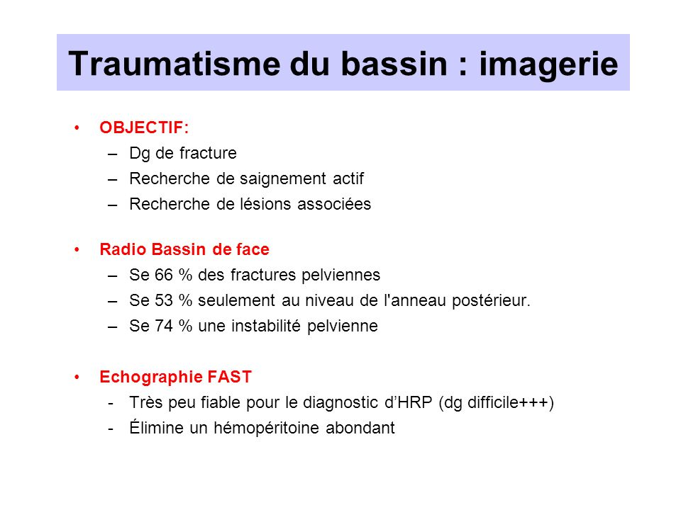 Traumatisme du bassin : imagerie