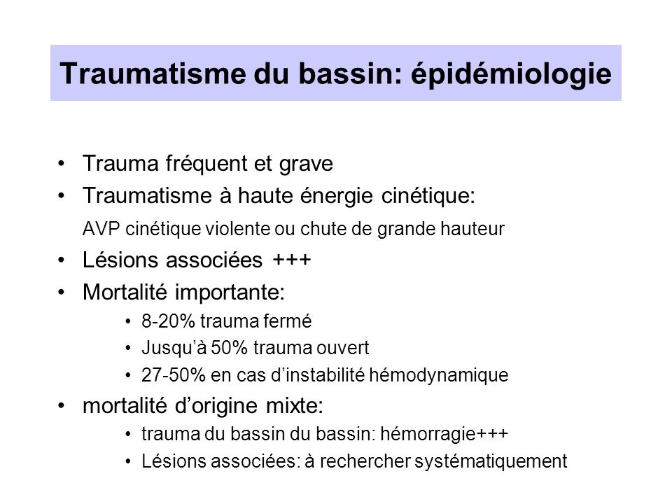 Traumatisme du bassin: épidémiologie