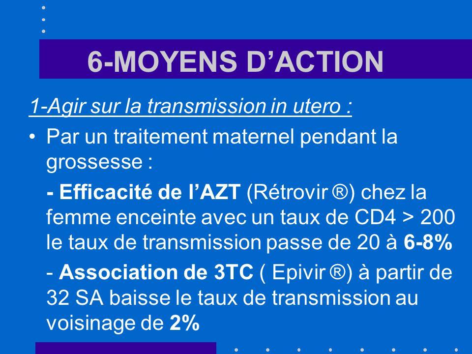 6-MOYENS D'ACTION 1-Agir sur la transmission in utero :