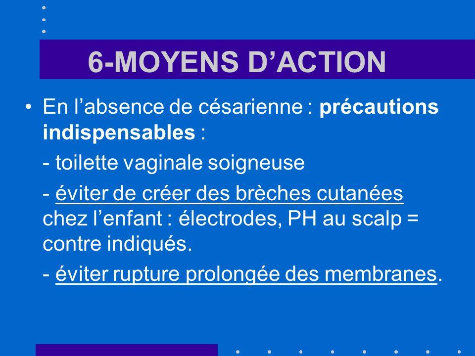 6-MOYENS D'ACTION En l'absence de césarienne : précautions indispensables : - toilette vaginale soigneuse.