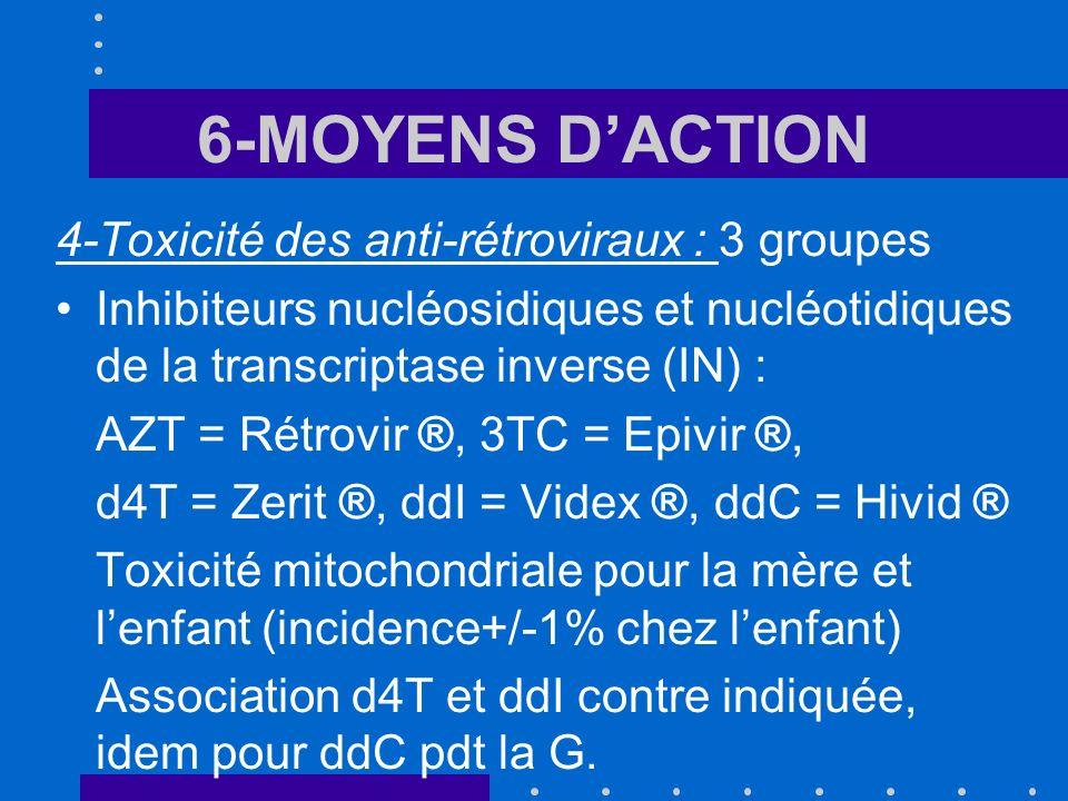 6-MOYENS D'ACTION 4-Toxicité des anti-rétroviraux : 3 groupes