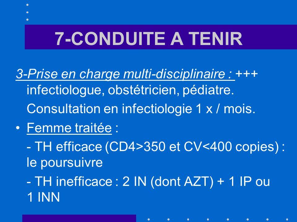 7-CONDUITE A TENIR 3-Prise en charge multi-disciplinaire : +++ infectiologue, obstétricien, pédiatre.