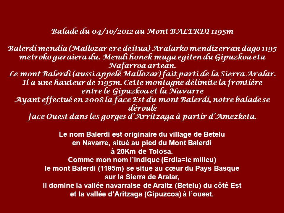Balade du 04/10/2012 au Mont BALERDI 1195m