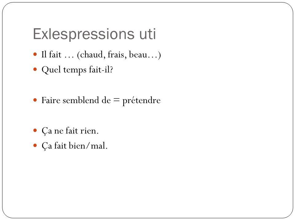 Exlespressions uti Il fait … (chaud, frais, beau…) Quel temps fait-il