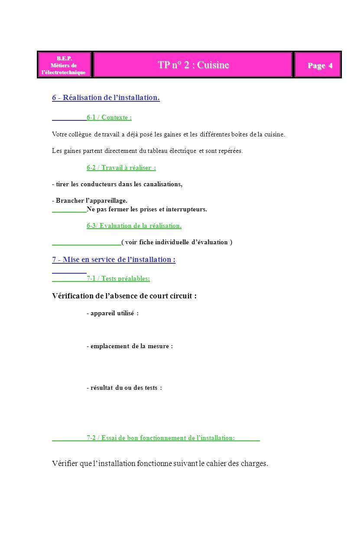 TP n° 2 : Cuisine Page 4 6 - Réalisation de l'installation.