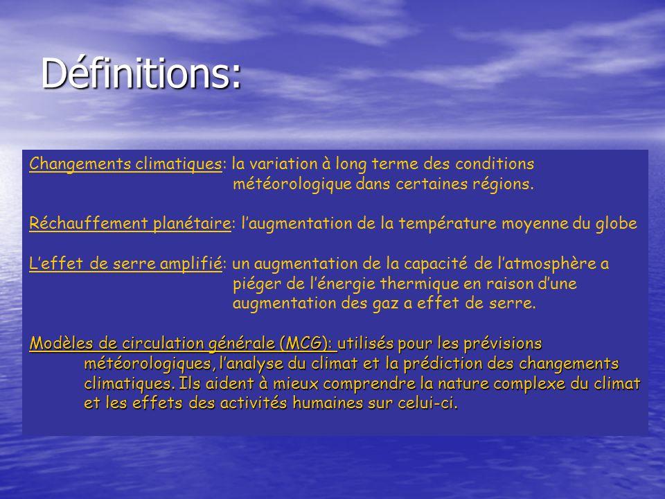 Définitions:Changements climatiques: la variation à long terme des conditions. météorologique dans certaines régions.