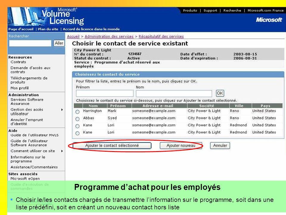 Programme d'achat pour les employés