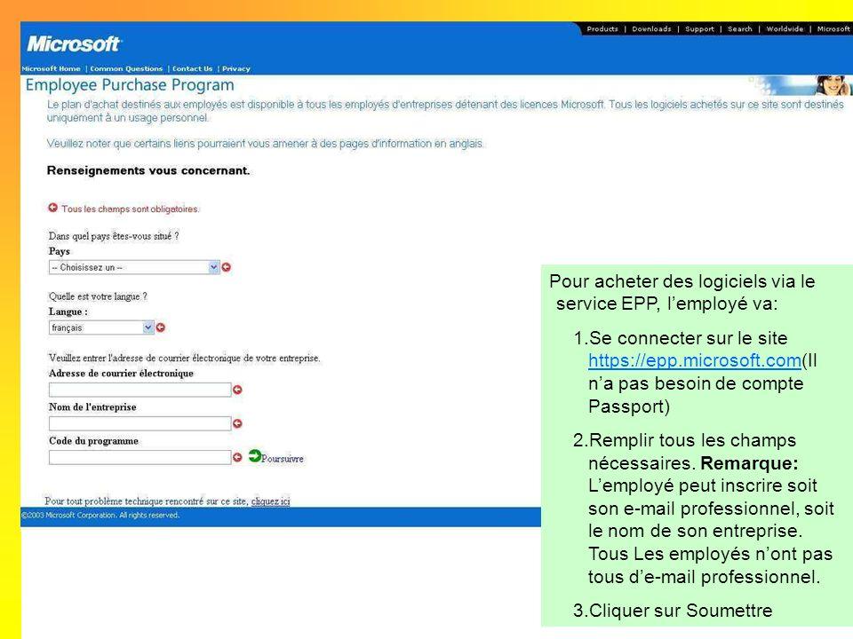 Pour acheter des logiciels via le service EPP, l'employé va: