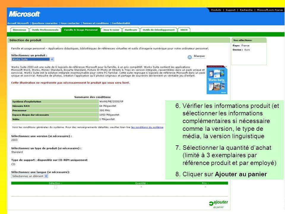 Vérifier les informations produit (et sélectionner les informations complémentaires si nécessaire comme la version, le type de média, la version linguistique