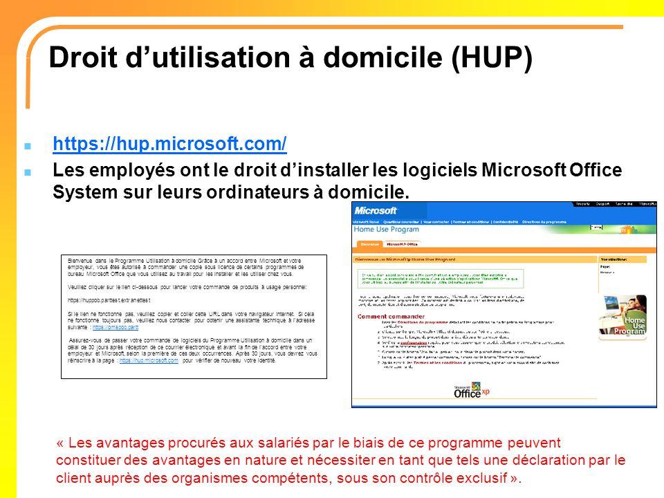 Droit d'utilisation à domicile (HUP)