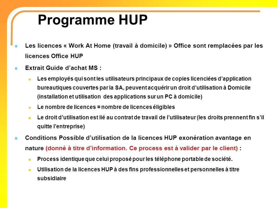 Programme HUP Les licences « Work At Home (travail à domicile) » Office sont remplacées par les licences Office HUP.