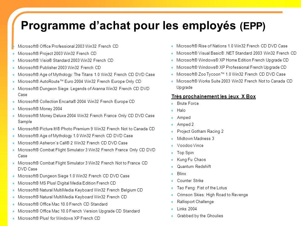 Programme d'achat pour les employés (EPP)