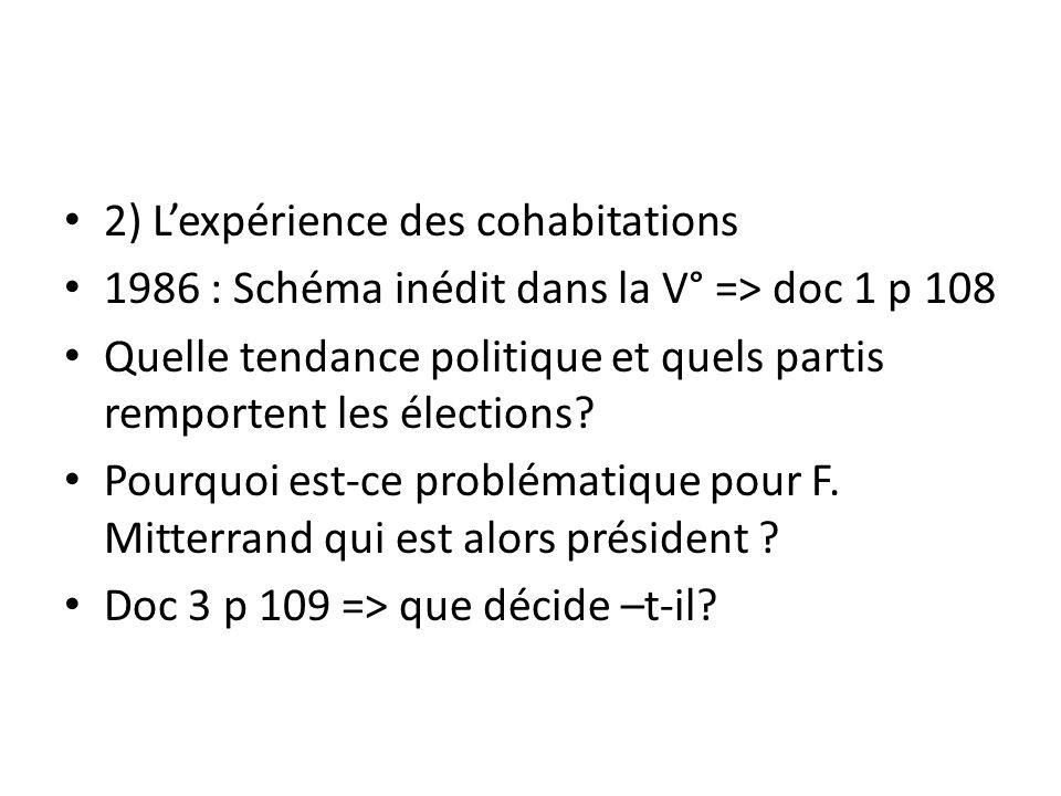 2) L'expérience des cohabitations