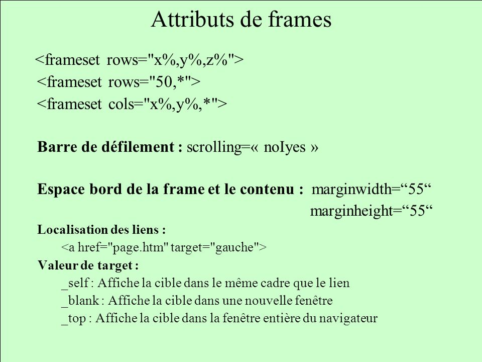 Attributs de frames <frameset rows= x%,y%,z% >