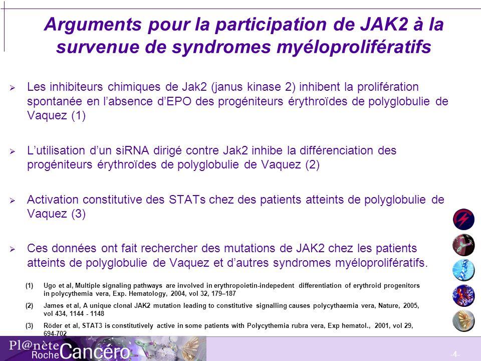 Arguments pour la participation de JAK2 à la survenue de syndromes myéloprolifératifs