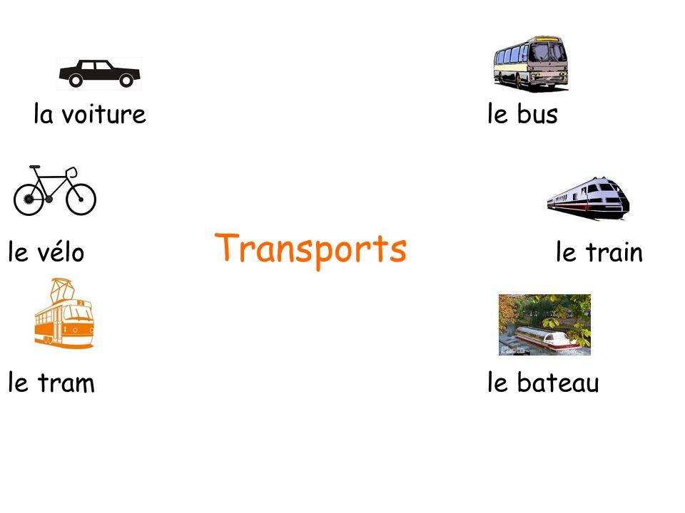 la voiture le bus le vélo Transports le train le tram le bateau