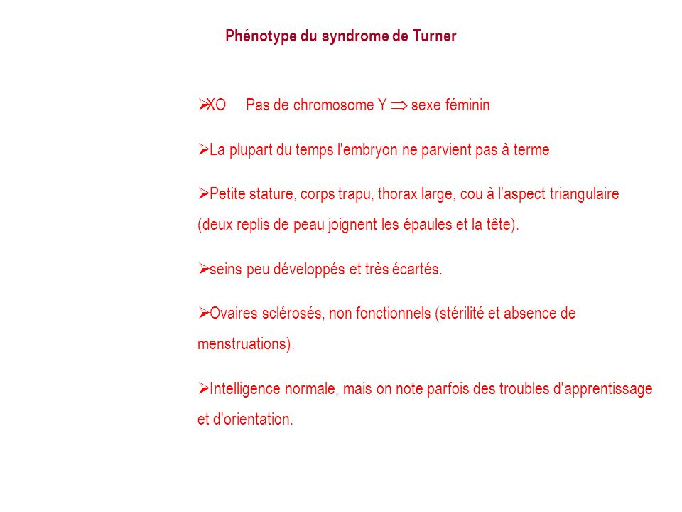 Phénotype du syndrome de Turner