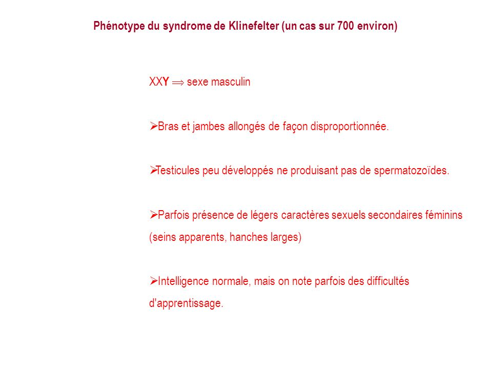 Phénotype du syndrome de Klinefelter (un cas sur 700 environ)