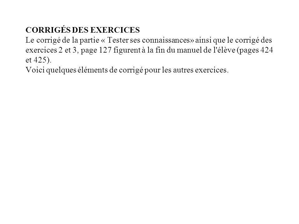 CORRIGÉS DES EXERCICES Le corrigé de la partie « Tester ses connaissances» ainsi que le corrigé des exercices 2 et 3, page 127 figurent à la fin du manuel de l élève (pages 424 et 425).