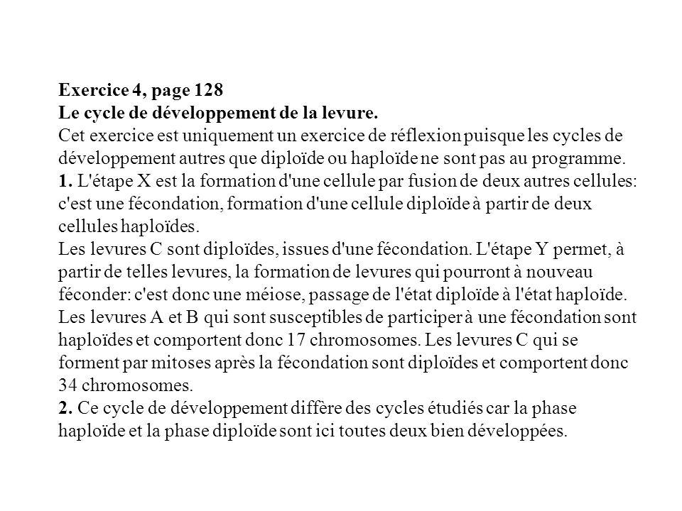 Exercice 4, page 128 Le cycle de développement de la levure