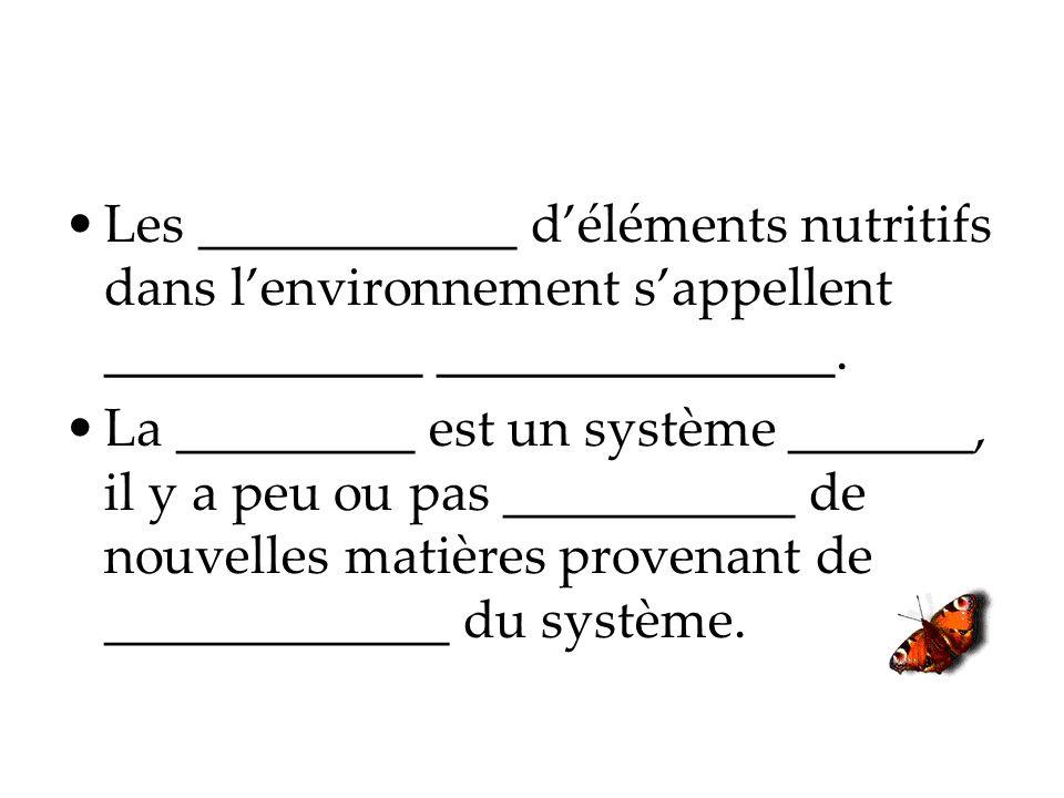 Les ____________ d'éléments nutritifs dans l'environnement s'appellent ____________ _______________.