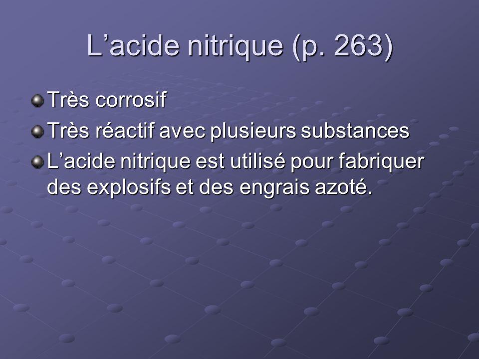 L'acide nitrique (p. 263) Très corrosif