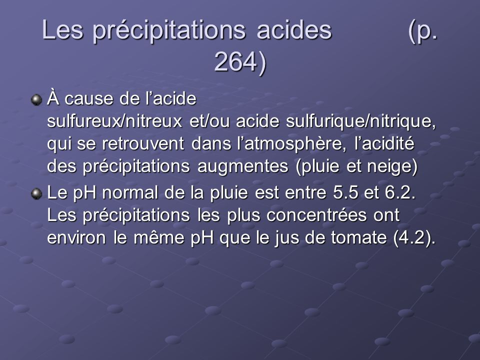 Les précipitations acides (p. 264)