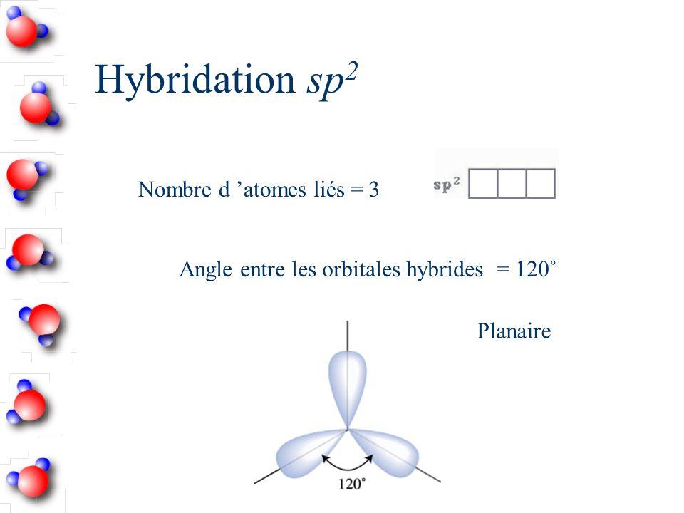Hybridation sp2 Nombre d 'atomes liés = 3