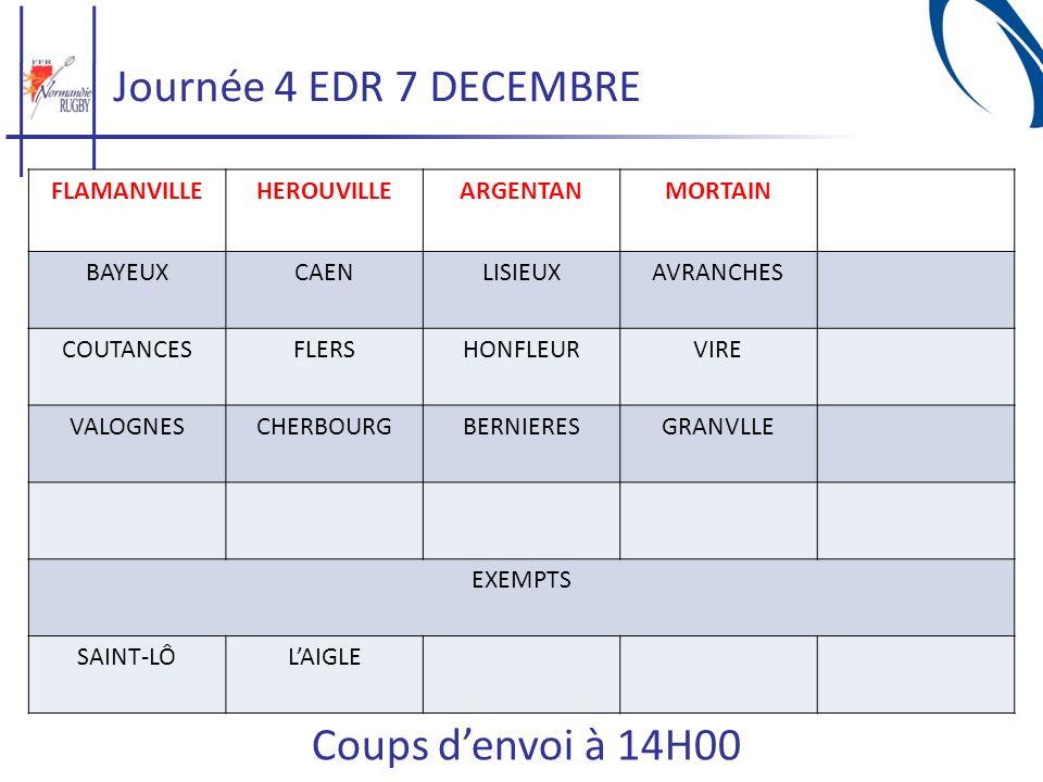 Journée 4 EDR 7 DECEMBRE Coups d'envoi à 14H00 FLAMANVILLE HEROUVILLE