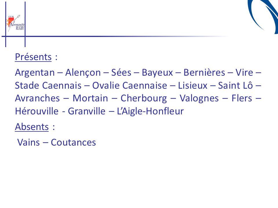 Présents : Argentan – Alençon – Sées – Bayeux – Bernières – Vire – Stade Caennais – Ovalie Caennaise – Lisieux – Saint Lô – Avranches – Mortain – Cherbourg – Valognes – Flers – Hérouville - Granville – L'Aigle-Honfleur Absents : Vains – Coutances