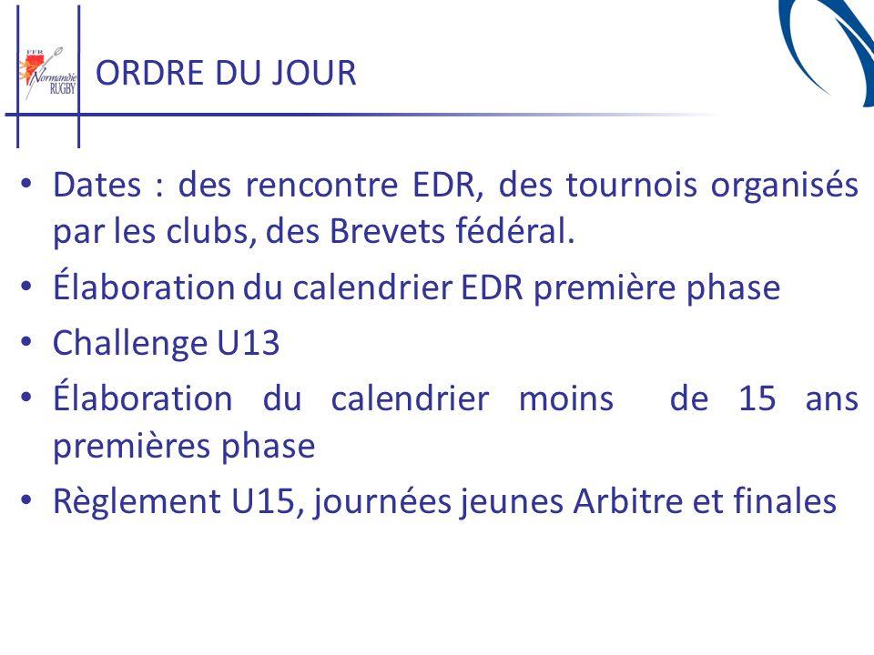 ORDRE DU JOUR Dates : des rencontre EDR, des tournois organisés par les clubs, des Brevets fédéral.