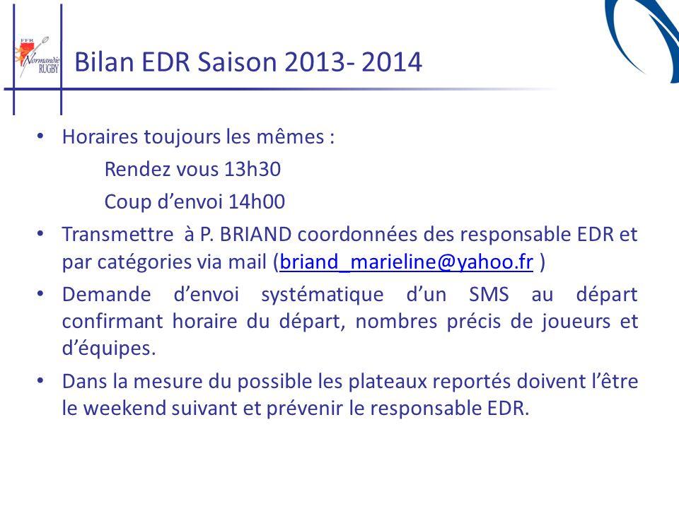 Bilan EDR Saison 2013- 2014 Horaires toujours les mêmes :