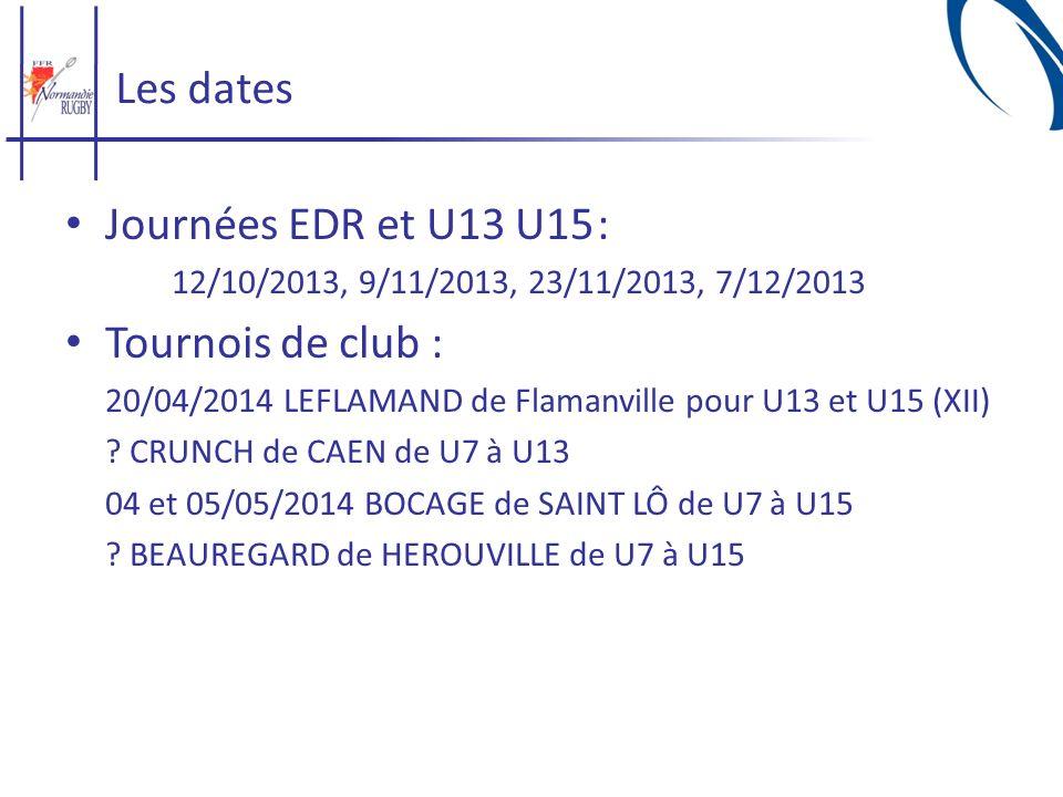 Les dates Journées EDR et U13 U15 : Tournois de club :