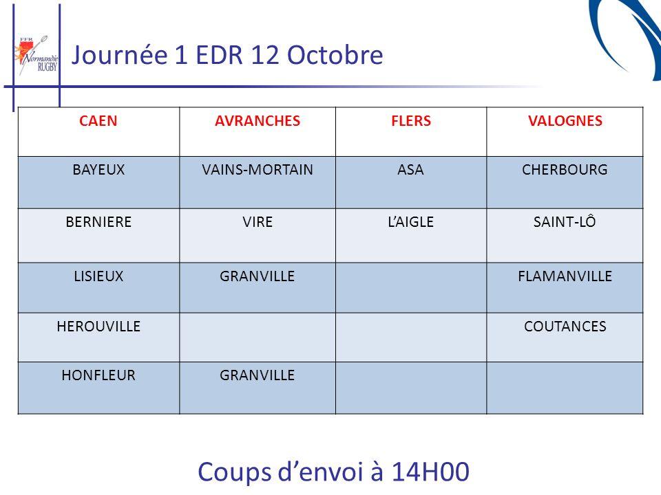 Journée 1 EDR 12 Octobre Coups d'envoi à 14H00 CAEN AVRANCHES FLERS