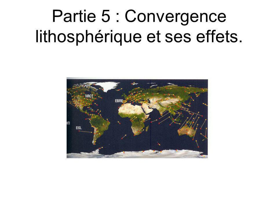 Partie 5 : Convergence lithosphérique et ses effets.