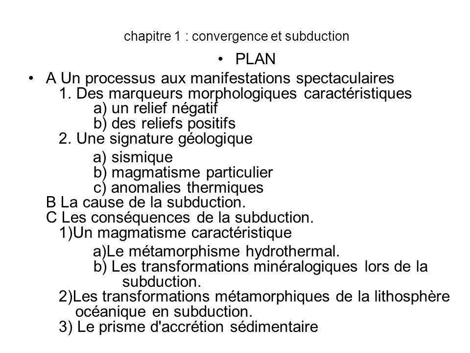 chapitre 1 : convergence et subduction
