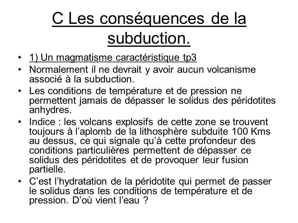 C Les conséquences de la subduction.